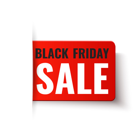 text space: Black Friday Sale - vector red tag in paper style Illustration