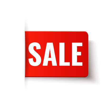 text space: Sale - vector red tag sign in paper style Illustration
