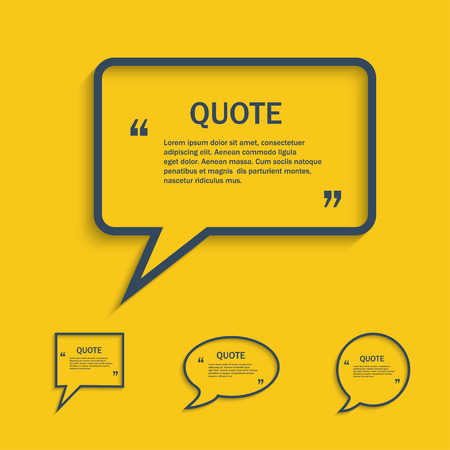 speech icon: Quote line speech bubble set, vector template
