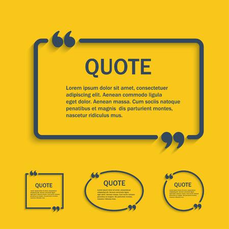 dialogo: Cita línea cuadro de texto con comas set, vector plantilla