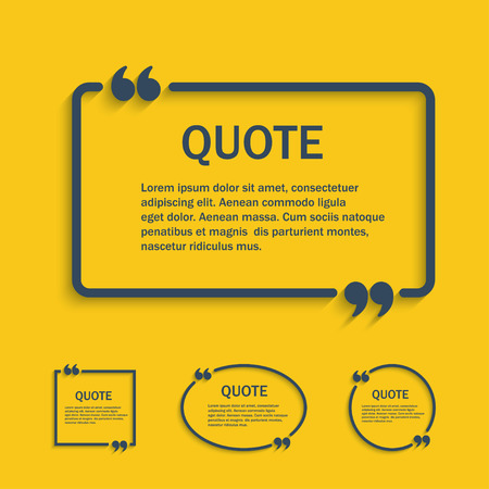 Quote line text box with commas set , vector template Çizim