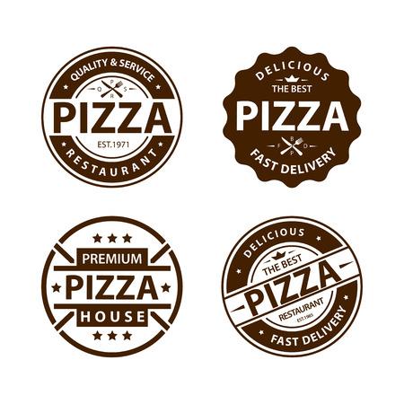 Vintage vector pizza logo, label, badge set 1 Illustration