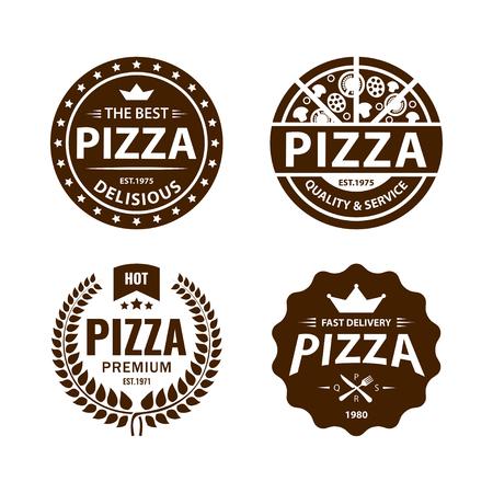 빈티지 벡터 피자 로고, 라벨, 배지 세트 2 일러스트