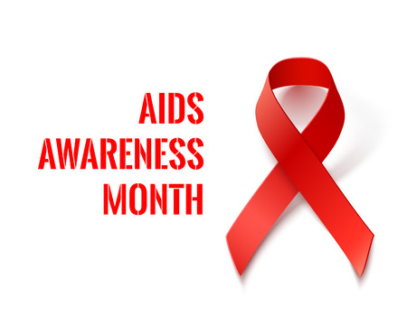 red  ribbon: AIDS Awareness Month - Vector Banner with Red Ribbon - AIDS and HIV Symbol Illustration
