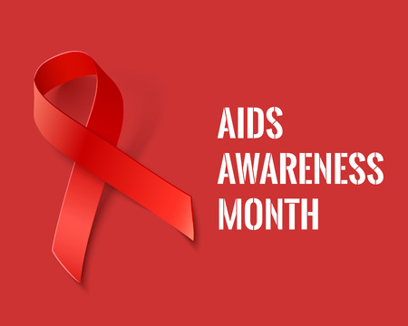 aids awareness ribbon: AIDS Awareness Month - Vector Background with Red Ribbon - AIDS and HIV Symbol Illustration