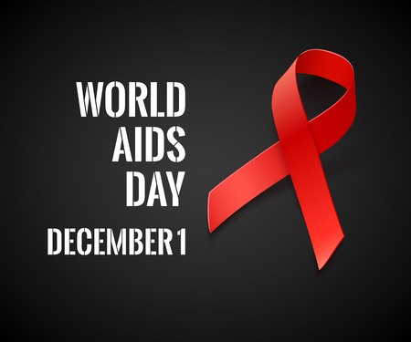 hiv aids: World AIDS Day - Vector Black Background with Red Ribbon - AIDS and HIV Symbol Illustration