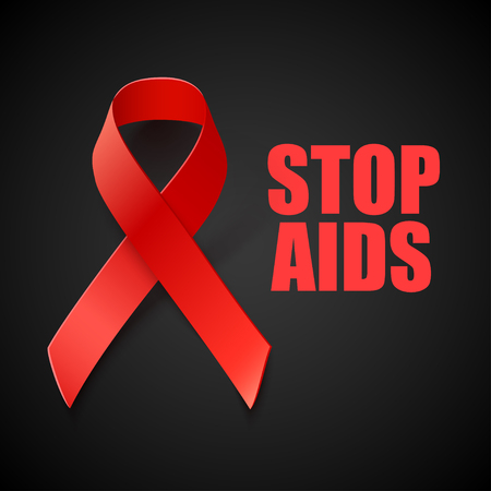 red  ribbon: Stop AIDS - Vector Banner with Red Ribbon - AIDS and HIV Awareness Symbol