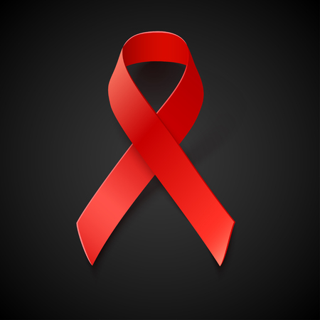 red  ribbon: Vector Red Ribbon on Black Background - AIDS and HIV Awareness Symbol