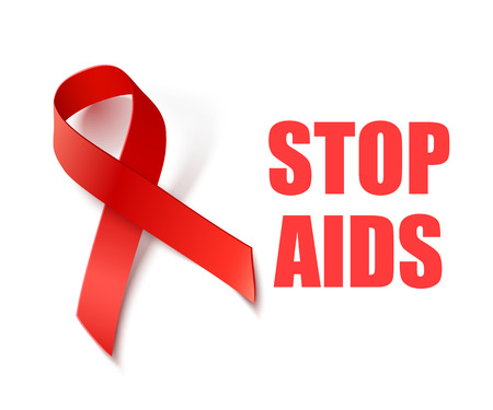 red  ribbon: Stop AIDS - Vector Background with Red Ribbon - AIDS and HIV Awareness Symbol Illustration