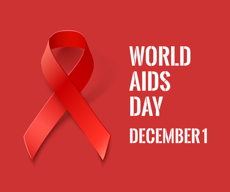 red  ribbon: World AIDS Day Banner - Vector Red Ribbon on Red Background  - AIDS and HIV Symbol