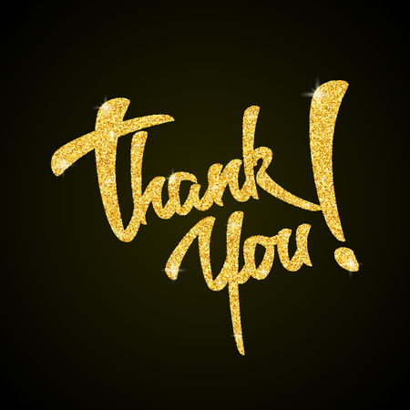 you: Thank you - gold glitter hand lettering on black background greeting card