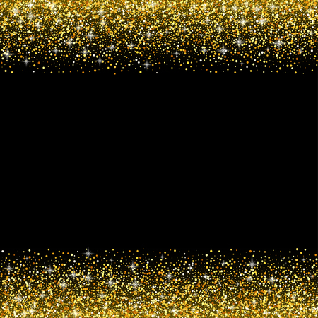 golden border: Vector black background with gold glitter sparkle, greeting card template