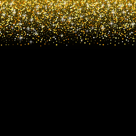 ゴールドのキラキラ輝き、グリーティング カード テンプレートを持つ黒のベクトルの背景  イラスト・ベクター素材