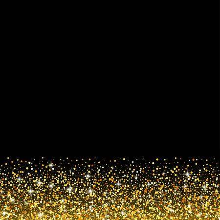 navidad elegante: fondo negro del vector con la chispa del brillo del oro, plantilla de la tarjeta de felicitación