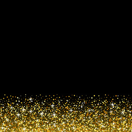 shiny black: Vector black background with gold glitter sparkle, greeting card template
