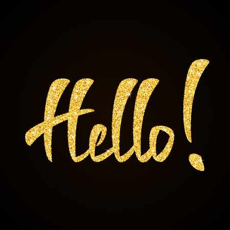 greeting card background: Hello gold glitter hand lettering on black background greeting card