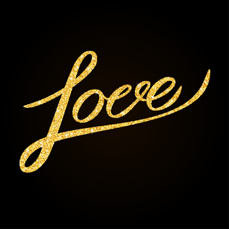 old letter: Love - gold glitter hand lettering on black background greeting card