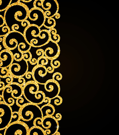 swirl patterns: Vector Gold Glitter Floral Curl Invitation Card with Swirl Damask Pattern on Black Background