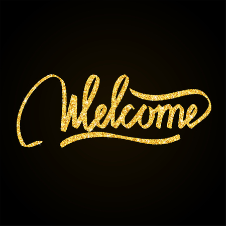 Welcome gold glitter hand lettering on black background greeting card