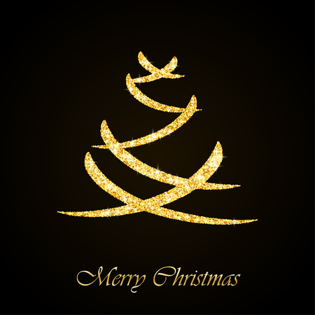 Vector Christmas tree gold glitter greeting card background
