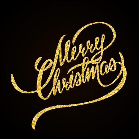 hand lettering: Merry Christmas gold glitter hand lettering on black background greeting card Illustration