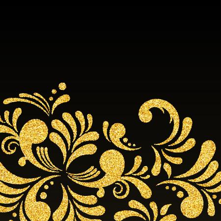 curle: Gold Glitter Floral Pattern on Black Background
