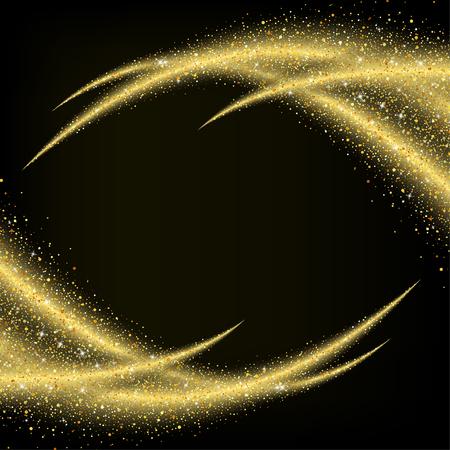 polvo: polvo de oro abstracto de la onda estrellas brillo, diseño de la plantilla Vectores