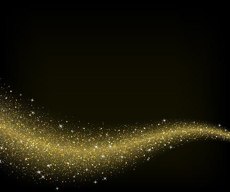 oro: polvo de oro abstracto de la onda estrellas brillo, diseño de la plantilla Vectores