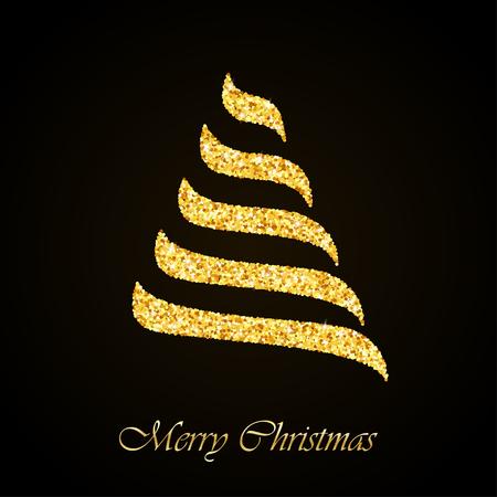 Stylized Christmas tree gold glitter greeting card background