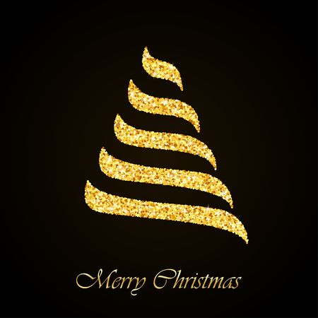 glitter: Stylized Christmas tree gold glitter greeting card background
