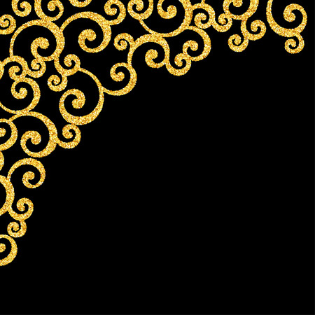 curle: Gold Glitter Floral Curl Invitation Card with Swirl Damask Pattern on Black Background Illustration