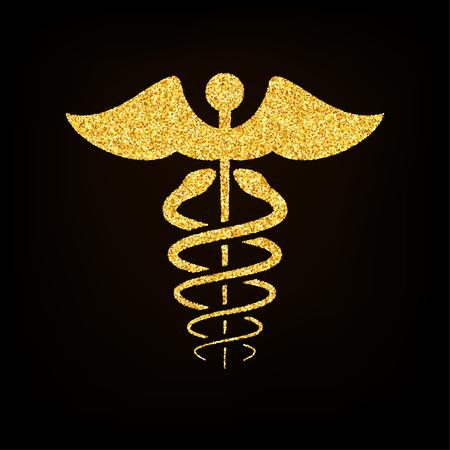 caduceus medical symbol: Gold Glitter Caduceus Medical Symbol on Black Background Illustration