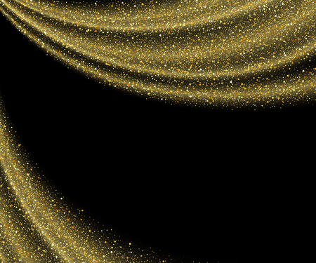 star background: gold dust glitter star wave fireworks abstract black background, design template Illustration