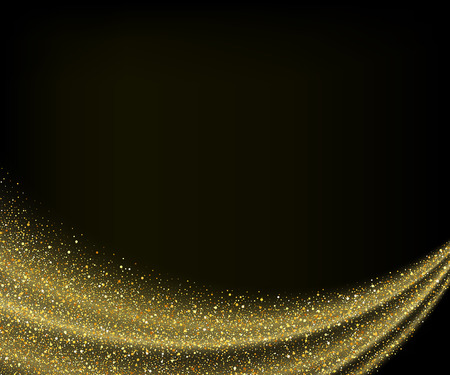 gold dust glitter star wave fireworks abstract black background, design template Illustration