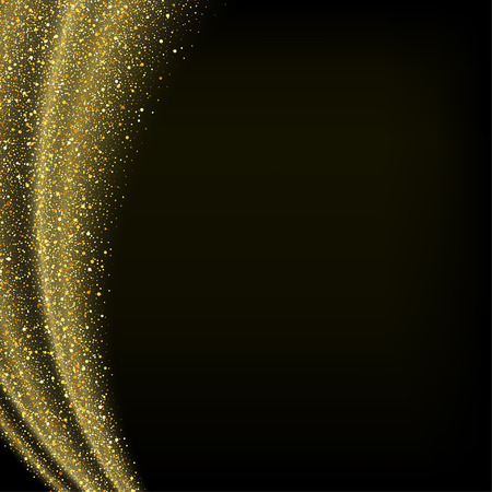gold dust: gold dust glitter star wave fireworks abstract black background, design template Illustration