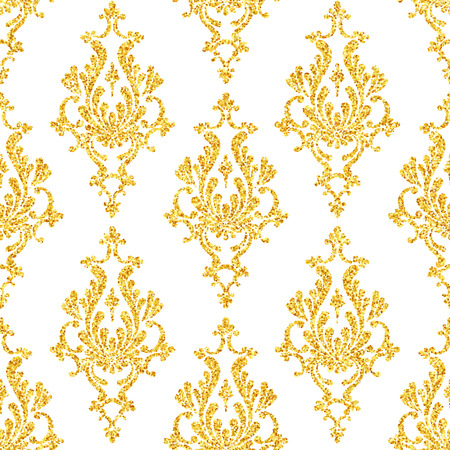 seamless floral pattern: Vector gold glitter damask floral seamless pattern, golden sparkles on white background, vip design template