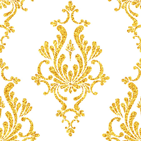 retro pattern: Vector gold glitter damask floral seamless pattern, golden sparkles on white background, vip design template