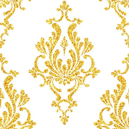 motif floral: Vector gold glitter damassé seamless floral, étincelles d'or sur fond blanc, modèle de conception vip