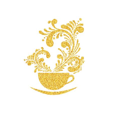 Vector Gold Funkeln-Schein-Tasse Kaffee mit Blumen Aroma-Muster auf weißen Hintergrund