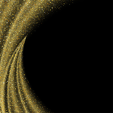 Vector gold glitter wave abstract background, golden sparkles on black background, vip design template Vectores