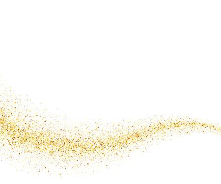 polvo: brillo del oro del vector de onda de fondo abstracto, chispas de oro sobre fondo blanco, plantilla de diseño vip