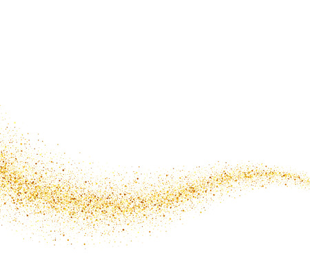trails: Vector gold glitter wave abstract background, golden sparkles on white background, vip design template