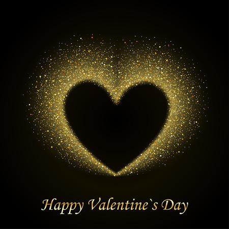 골드 빛나는 스타 더스트 마음으로 해피 발렌타인 카드, 황금 검은 배경에 반짝임