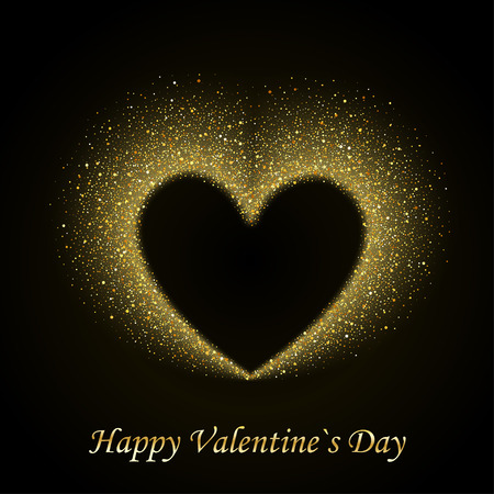 Happy Valentines Day Card with Gold Glittering Star Dust Heart, Golden Sparkles on Black Background