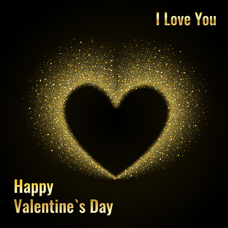 star dust: Happy Valentines Day Card with Gold Glittering Star Dust Heart, Golden Sparkles on Black Background
