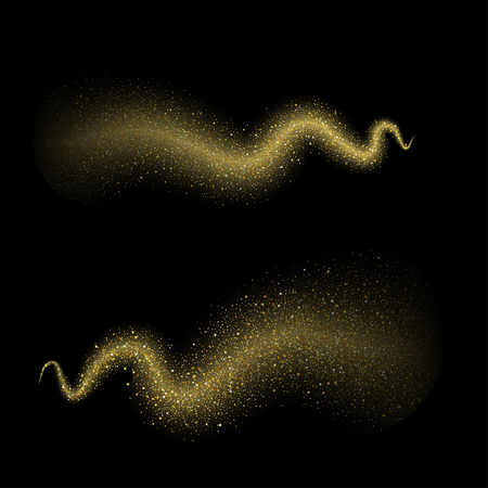 Vector gold glitter wave abstract background, golden sparkles on black background, vip design template Vettoriali