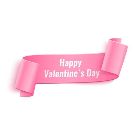 Vector 3d Pink Curved Paper Banner with Happy Valentines Day Text