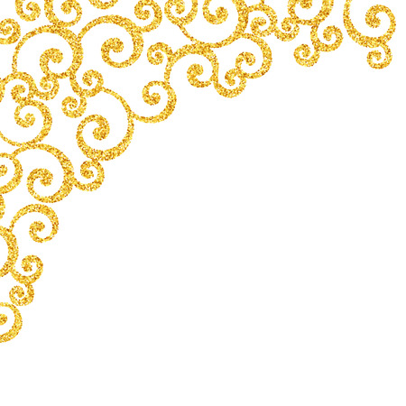Vector gold glitter swirl pattern, golden sparkles on white background, vip design template