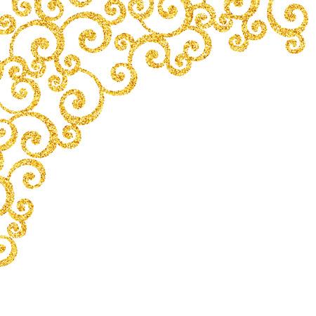Vector gold glitter swirl pattern, golden sparkles on white background, vip design template