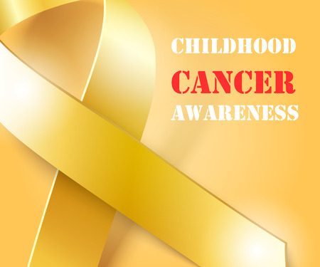 awareness: Childhood Cancer Awareness concept , golden background with gold ribbon, vector illustration